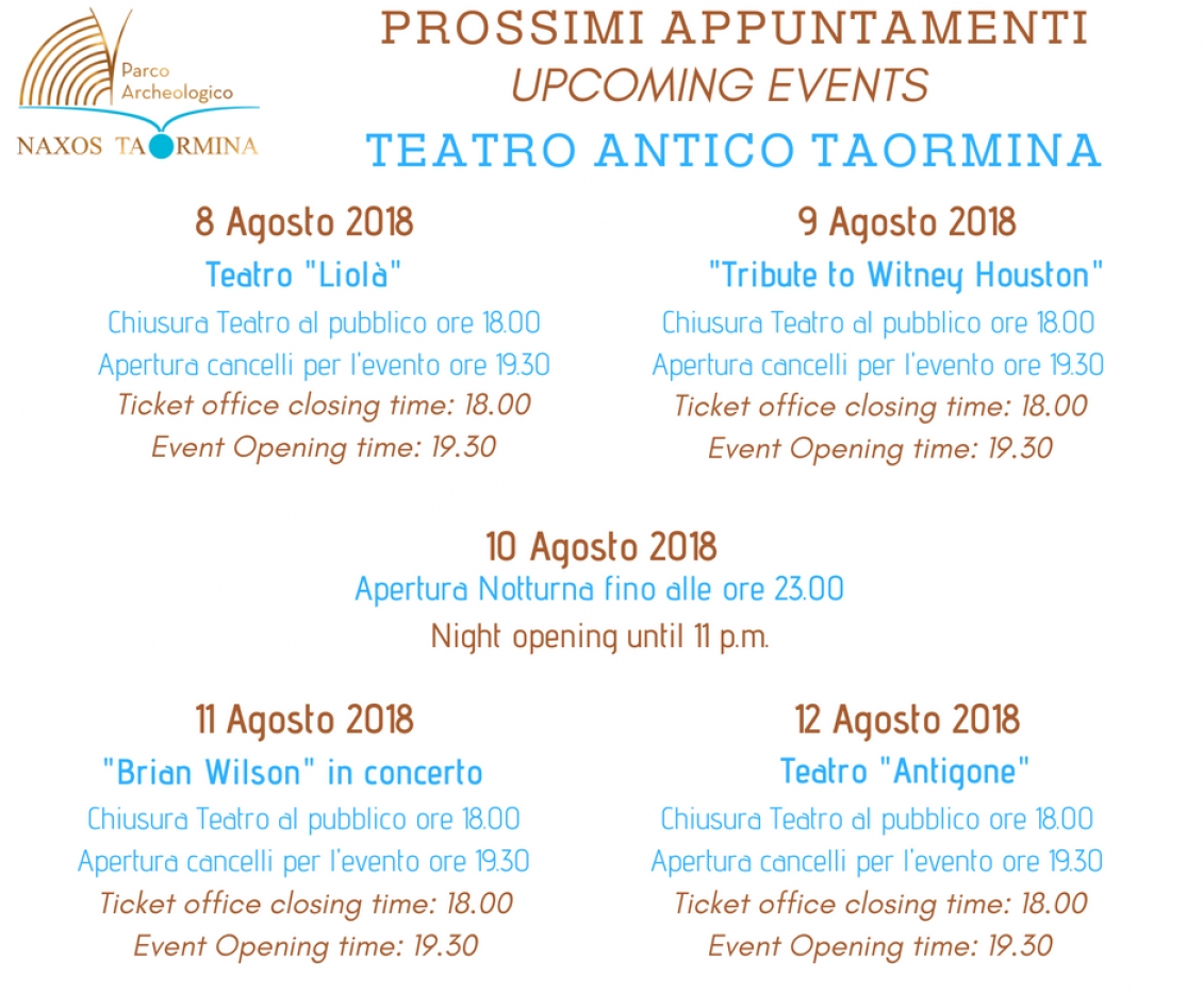 PROSSIMI APPUNTAMENTI - UPCOMING EVENTS - TEATRO ANTICO TAORMINA